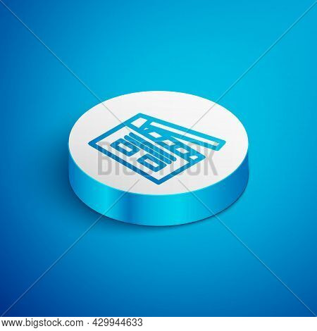Isometric Line Bollywood Indian Cinema Icon Isolated On Blue Background. Movie Clapper. Film Clapper