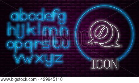 Glowing Neon Line Coffee And Conversation Icon Isolated On Brick Wall Background. Coffee Talk. Speec