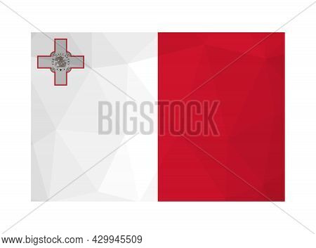 Vector Isolated Illustration. National Maltese Flag With Bicolour And George Cross. Official Symbol