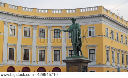 Odessa, Ukraine - July 10, 2021: Monument To Duke De Richelieu. The First Monument Erected In Odessa