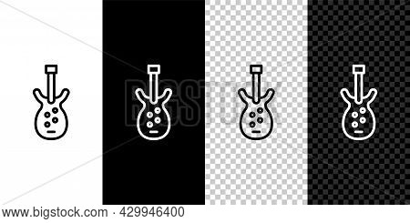 Set Line Electric Bass Guitar Icon Isolated On Black And White Background. Vector