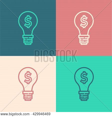Pop Art Line Light Bulb With Dollar Symbol Icon Isolated On Color Background. Money Making Ideas. Fi