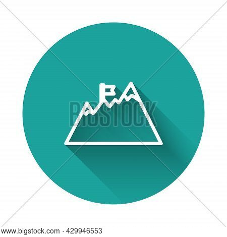 White Line Mountains With Flag On Top Icon Isolated With Long Shadow. Symbol Of Victory Or Success C