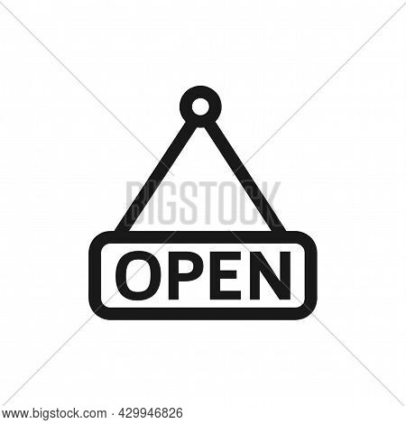 Open Shop Sign. Open Label Sign. Open Isolated Simple Vector Icon