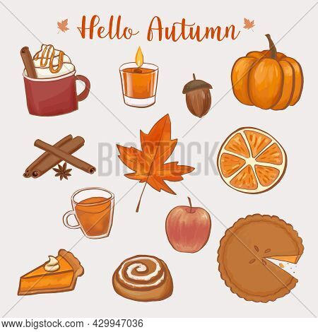 Set Of Hand Drawn Autumn Atmosphere Elements. Isolated Fall Sticker Collection. Vector Illustration