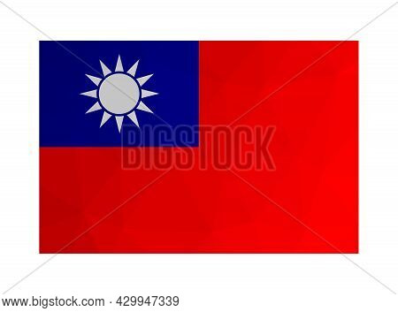 Vector Illustration. National Taiwanese Flag With Blue Sky, White Sun, Red Earth. Official Symbol Of