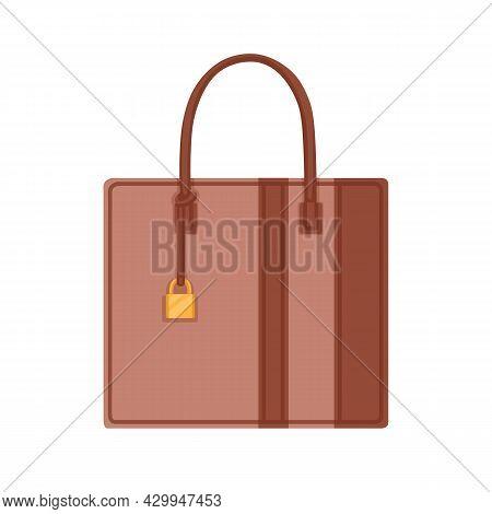 Women Solid Rectangular Business Bag With Handle. Female Leather Handheld Shaped Handbag. Modern Fas