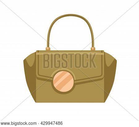 Women Handheld Flap Bag With Big Gold Buckle. Elegant Design Of Female Leather Handbag With Single C