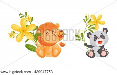 Adorable Baby Animals Holding Spring Flower Set. Lovely Lion, Panda Bear Standing With Wild Flowers
