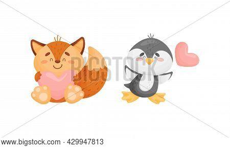 Adorable Baby Animals With Pink Hearts Set. Lovely Happy Fox, Penguin Holding Heart Cartoon Vector I