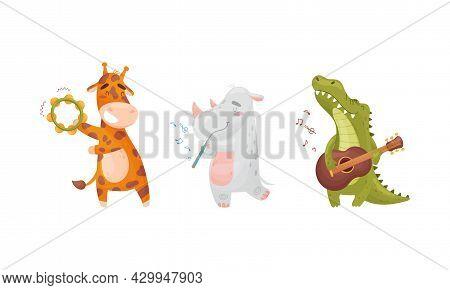 Adorable Animals Playing Musical Instruments Set. Cute Giraffe, Rhino, Crocodile Playing Tambourine,