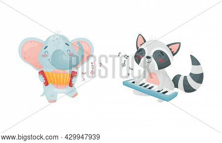 Adorable Animals Playing Musical Instruments Set. Cute Elephant, Raccoon Playing Accordion, Synthesi