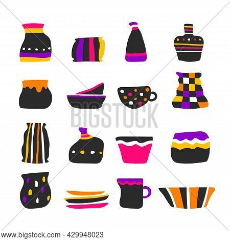 Vector Set With Isolated Colorful Icons Of Handmade Ceramic Tableware. Collection Of Hand Drawn Craf