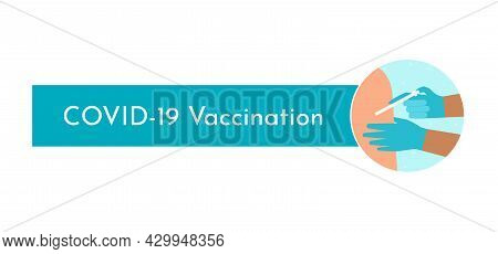 Vector Isolated Concept. Template To Article About Covid-19 Coronavirus Vaccination. Round Backgroun