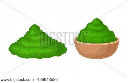 Spirulina Dietary Supplement. Powder Of Organic Product In Bowl Vector Illustration