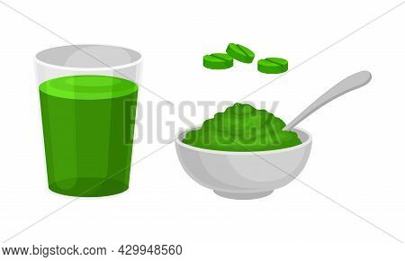 Spirulina Plant Organic Products Set. Healthy Drink And Organic Product Powder Vector Illustration