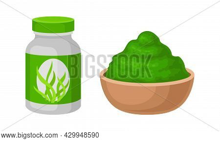 Spirulina Dietary Supplement. Powder Of Organic Product In Bowl And Bottle Vector Illustration