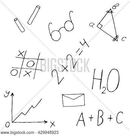 Set Of School Doodles, Doodles, Formulas, Tic-tac-toe Chart, Envelope, Chalk, Vector Illustration In