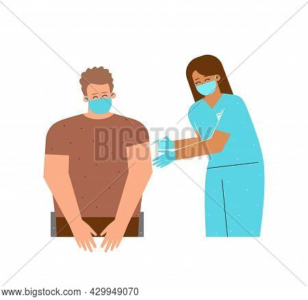 Vector Flat Concept Illustrated Coronavirus Covid-19 Vaccination. European Nurse Holds Syringe. Woma