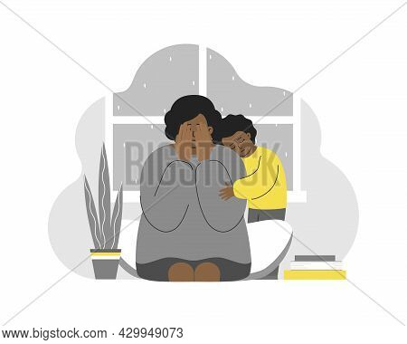 Vector Illustration With Tired Crying Woman. African American Girl Hugs Mom. Postpartum Depression,