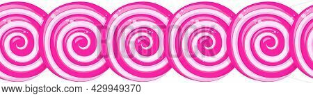 Pink Lollipops Row, Border Of Twisted Sucker Candies. Vector Cartoon Abstract Background, Horizontal