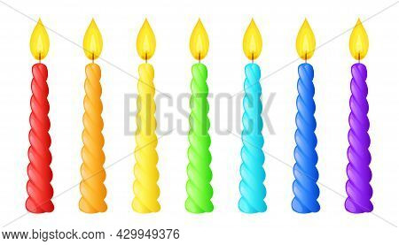 Rainbow Colored Twisted Candles With Flame. Spiral Wax Sticks With Burning Wick. Vector Cartoon Set