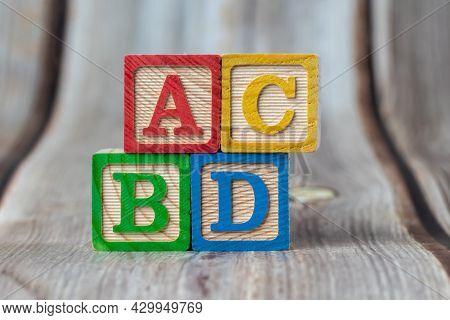 Abc Wooden Block On Table.
