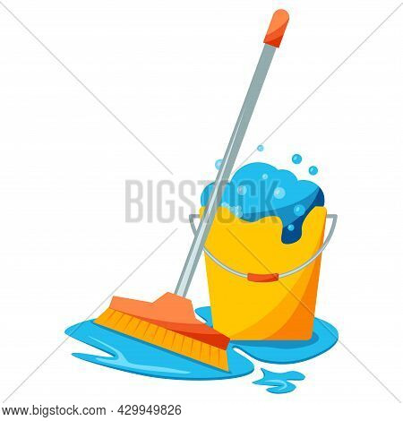 Mop And Bucket, Cleaning Concept. Realistic Mop And Bucket Full Of Soapy Foam With Colorful Bubbles.