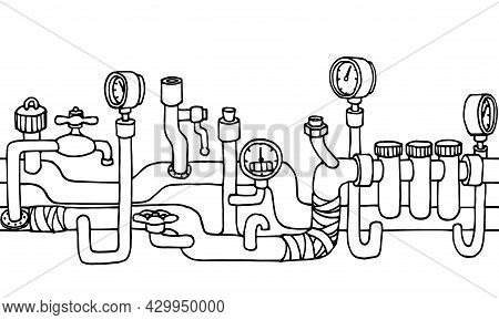 Horizontal Seamless Pattern, Water Supply System In A House With Pipes, Valves, Frame Or Border, Vec