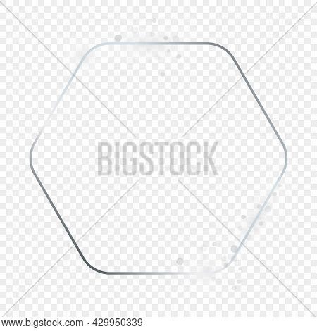 Silver Glowing Rounded Hexagon Frame With Sparkles Isolated On Transparent Background. Shiny Frame W