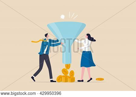 Marketing Or Sale Funnel, Conversion Rate Or Customer Buying Product From Advertising Campaign, Onli