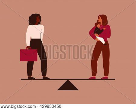 Work-life Balance Concept. Businesswoman And Female With A Baby On Her Hands Stand On The Scales. Ch