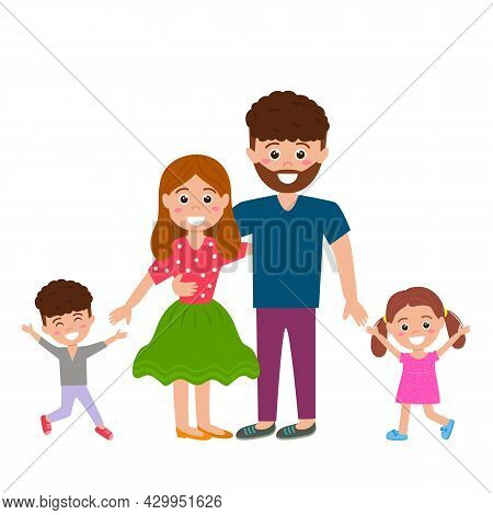 Happy Family Together. Husband, Wife, Son And Daughter Enjoy Life. Vector Illustration Isolated On W