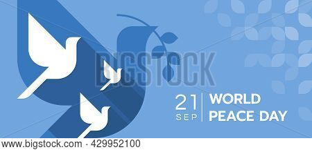 World Peace Day - White Dove Flying On Layer Of Dove Holding Olive Branch Symbols On Blue Background