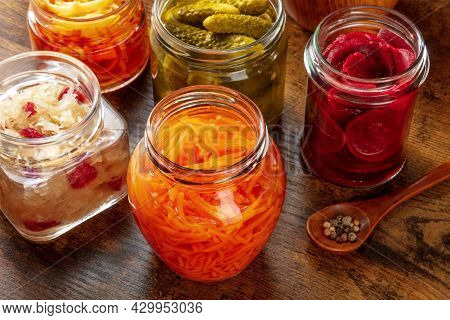 Fermented Food. Canned Vegetables. Pickled Carrot, Beet, Sauerkraut And Other Organic Preserves In M