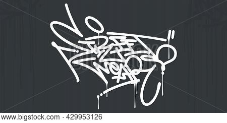 Abstract Hip Hop Hand Written Urban Graffiti Style Words Street Wear