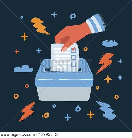 Vector Illustration Of Hand Putting A Voting Ballot In A Slot Of Wooden Box Over Dark Backround.