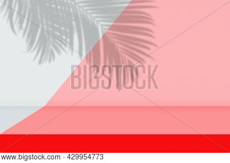 Abstract Image Of Empty Space Studio Room Pink And Gray Gradient Background With Shadow Of Palm Leav