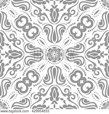Classic Seamless Vector Light Pattern. Damask Orient Ornament. Classic Vintage Light Silver Backgrou