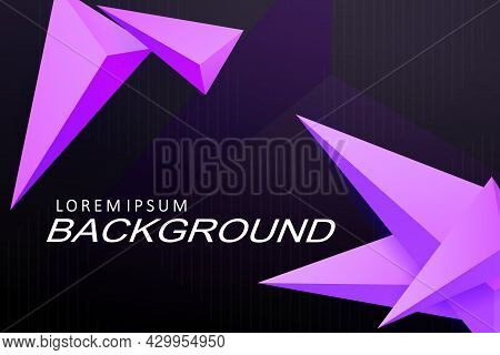 Black Composition With A Gradient, Purple Triangles With A 3d Effect