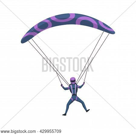 Male Skydiver Flying With Sport Equipment. Skydiving Extreme Sport. Parachute Jumping Character On W