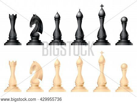 Chess Figures Vector Set. King, Queen, Bishop, Knight Or Horse, Rook And Pawn - Standard Chess Piece
