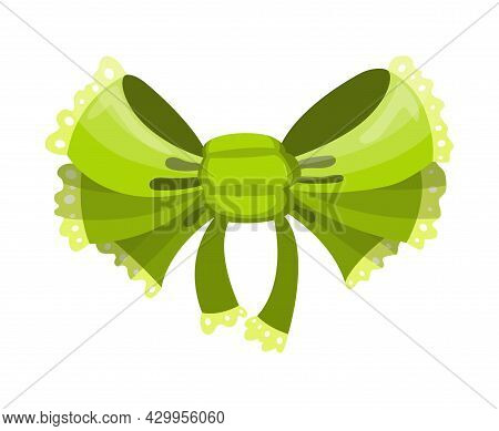 Gift Bow Colorful Flat Vector Illustration. Green Knot For Present Element Template. Decoration For