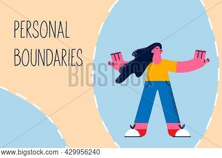 Defending Personal Boundaries Borders Concept. Young Woman Standing With Hands Stretched Out Protect