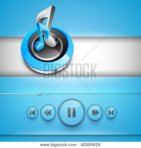 3D shiny musical notes with play, pause, forward and back buttons, mp3 player. poster