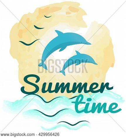 Lettering With Picture Of Dolphin And Seascape. Dolphins Jump Out Of Water At Sunset. Seascape With