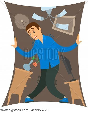 Man Suffering From Fear Of Closed Narrow Rooms. Frightened Guy Standing In Shrinking Little Room, Ap