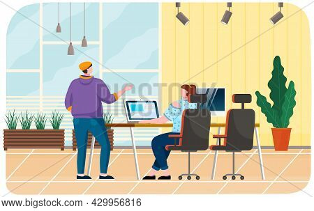 Colleagues Communicating During Work. People Discuss, Have Conversation, Work With Laptop. Positive