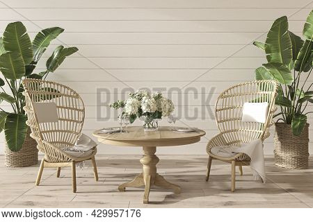 Coastal Design Dining Room With Table And Wicker Furniture. Mockup White Wall In Cozy Home Interior