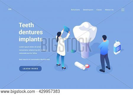 Installation Of Dental Implants. Dentists Test New Artificial Tooth For Quality. Modern Medical Tech